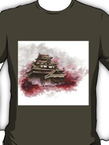 Japanese castle sumi-e painting, japanese art print for sale T-Shirt