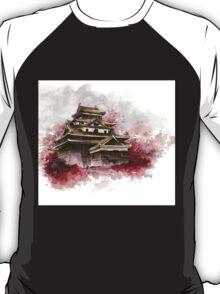 Japanese castle sumi-e painting, japanese art print for sale T-Shirt