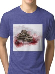 Japanese castle sumi-e painting, japanese art print for sale Tri-blend T-Shirt