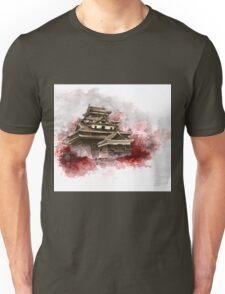 Japanese castle sumi-e painting, japanese art print for sale Unisex T-Shirt