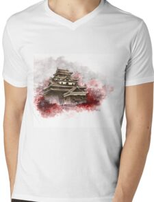 Japanese castle sumi-e painting, japanese art print for sale Mens V-Neck T-Shirt