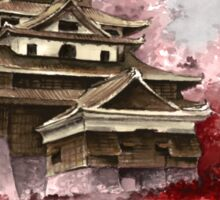 Japanese castle sumi-e painting, japanese art print for sale Sticker