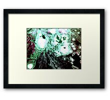 Cellular Abstract Painting Green Black Framed Print
