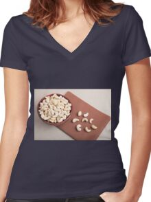 Top view of breakfast for raw foodists Women's Fitted V-Neck T-Shirt