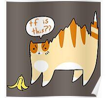 Cat Scared of Banana Peel Poster