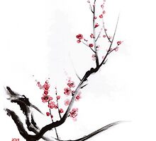 Cherry blossom tree sumi-e painting, sakura art print by Mariusz Szmerdt