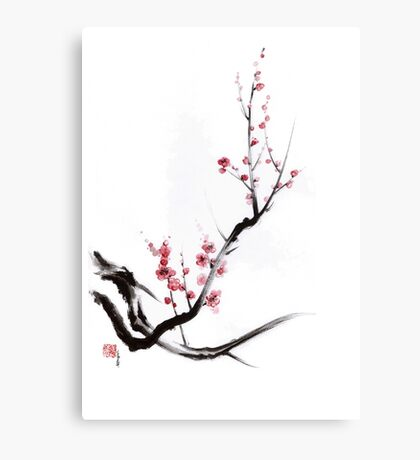 Cherry blossom tree sumi-e painting, sakura art print Canvas Print