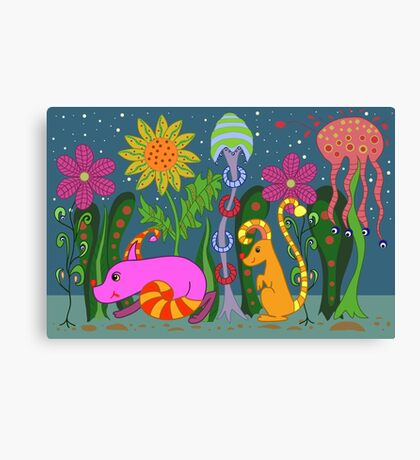 vector fantastic night forest with fabulous animals Canvas Print