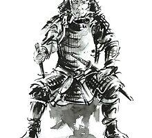 Samurai ink art print, japanese warrior armor poster by Mariusz Szmerdt