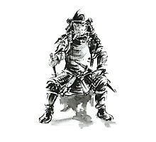 Samurai ink art print, japanese warrior armor poster Photographic Print