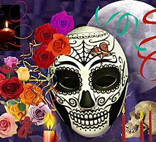 Day of the Dead Mask Collage by Jane Neill-Hancock