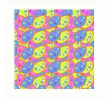 vector seamless pattern with multi-colored Easter eggs Art Print