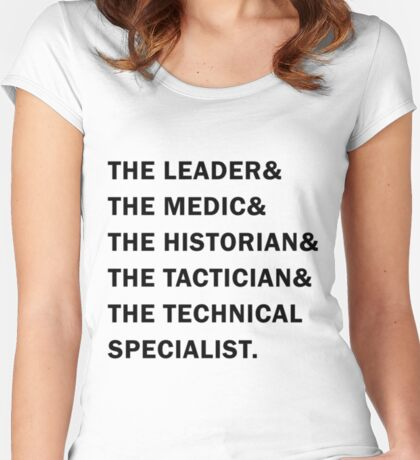 Travelers - The Leader & The Medic & The Historian & The Tactician & The Technical Specialist Women's Fitted Scoop T-Shirt