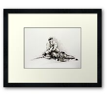 Sumi-e martial arts, samurai large poster for sale Framed Print