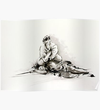 Sumi-e martial arts, samurai large poster for sale Poster