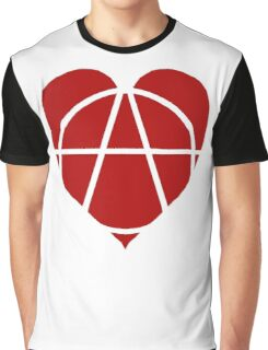 Red Anarchist Heart Graphic T-Shirt