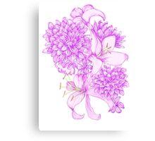 Violet Lilies and Dahlias Canvas Print