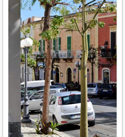 Bright buildings on Puglia street Sticker
