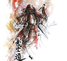 Watercolor samurai art print, best men gift by Mariusz Szmerdt