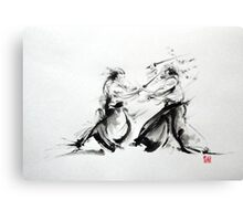 Samurai fight large poster, martial arts art work Canvas Print