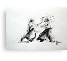Samurai fight large poster, martial arts art work Canvas Print
