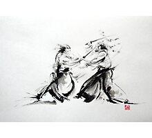 Samurai fight large poster, martial arts art work Photographic Print