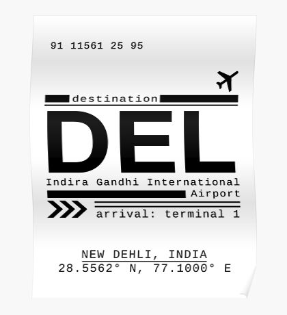 DEL New Dehli India Airport Call Letters Poster