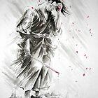 Samurai warrior art print, watercolor large poster by Mariusz Szmerdt