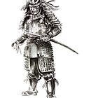 Samurai old armor artwork, japanese ideas painting by Mariusz Szmerdt