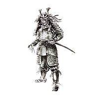 Samurai old armor artwork, japanese ideas painting Photographic Print