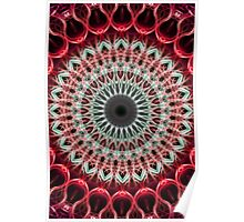 Mandala in red and light green colors Poster