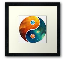 Yin Yang, Space, Cosmos, Galaxy, Universe, Outerspace Framed Print