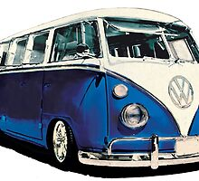 VW Bus Cool Blue by Tiltedgiraffes