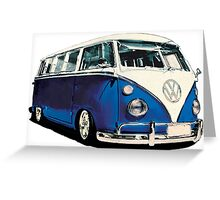 VW Bus Cool Blue Greeting Card