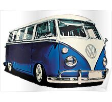 VW Bus Cool Blue Poster
