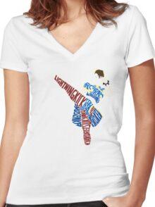Chun-Li Typography Women's Fitted V-Neck T-Shirt