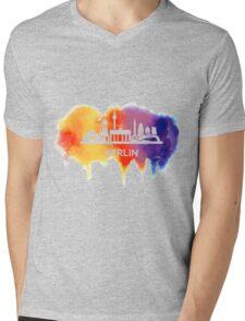 Berlin Skyline Watercolor Mens V-Neck T-Shirt