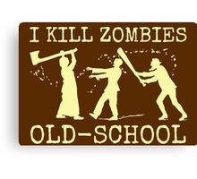 Funny Retro Old School Zombie Killer Hunter Canvas Print