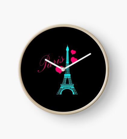 Teal & Pink Eiffel Tower Clock