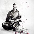 Samurai sepuku acts, japanese warrior ink painting by Mariusz Szmerdt