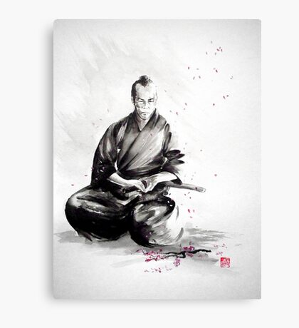 Samurai sepuku acts, japanese warrior ink painting Canvas Print