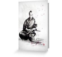 Samurai sepuku acts, japanese warrior ink painting Greeting Card