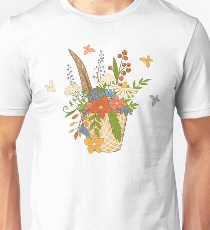 Basket with a bright bouquet of flowers. Unisex T-Shirt