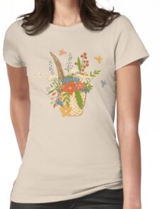 Basket with a bright bouquet of flowers. Womens Fitted T-Shirt