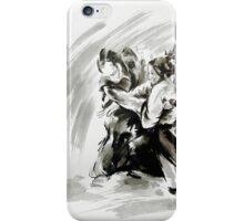 Samurai vs samurai watercolor art print, ronin battle iPhone Case/Skin