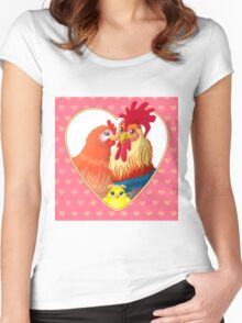 Rooster family.  Women's Fitted Scoop T-Shirt