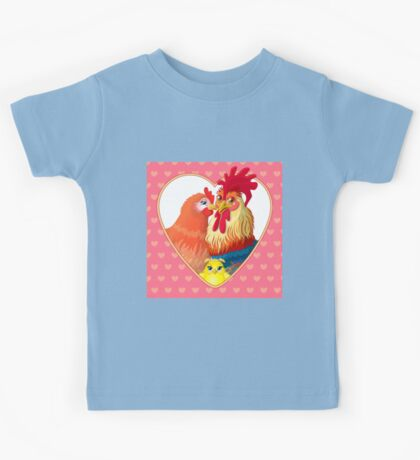 Rooster family.  Kids Tee