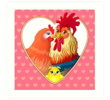 Rooster family.  Art Print