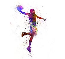 young man basketball player one hand slam dunk Photographic Print
