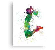 young man basketball player dunking Canvas Print